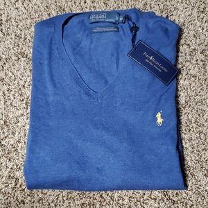 Polo Ralph Lauren V Neck Blue Pima Sweater